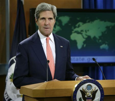 United States Secretary of State John Kerry addresses the media on the Syrian situation in Washington